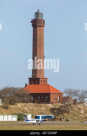 The East Frisian North Sea island Norderney, Germany, winter, lighthouse at the airport, - Stock Photo