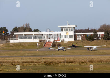 The East Frisian North Sea island Norderney, Germany, winter, the airport, - Stock Photo