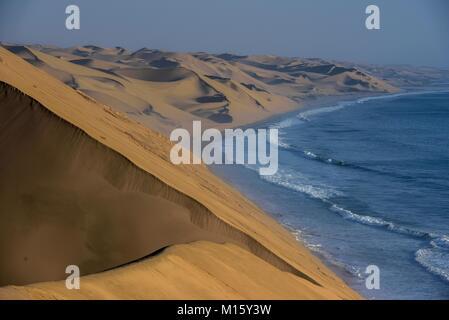 Sand dunes on the Atlantic coast near Lange Wand,Namib-Naukluft-Park,Namibia - Stock Photo
