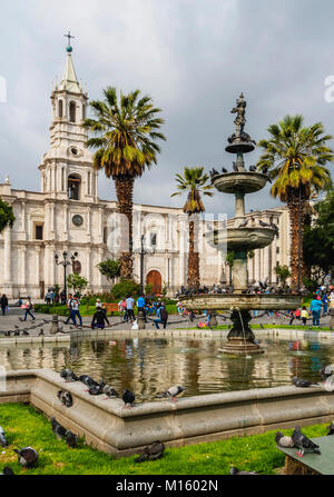 Cathedral,Plaza de Armas,Arequipa,Peru - Stock Photo