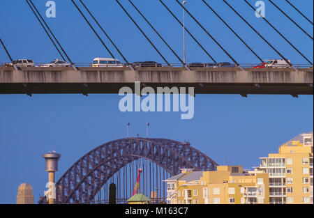 The Anzac Bridge is an 8-lane cable-stayed bridge spanning Johnstons Bay between Pyrmont and Glebe Island (part - Stock Photo