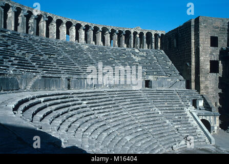 Rows of Stone Seating or seats in the Roman Theatre (c2nd) at Aspendos, built by the Greek architect Zenon in 155 - Stock Photo