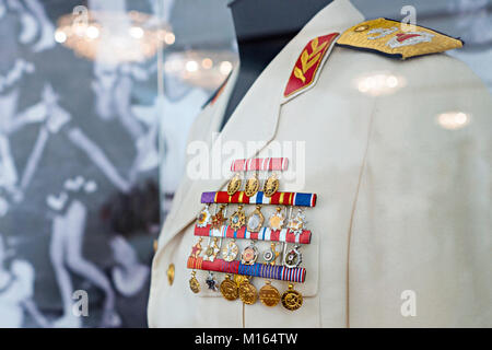 Belgrade, Serbia - May 25, 2017: Uniform of Marshal Josip Broz Tito, ex Yugoslavian president, in House of flowers - Stock Photo