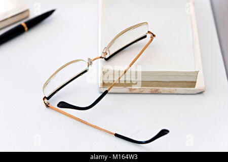 Belgrade, Serbia - May 25, 2017: Eyeglasses of Marshal Josip Broz Tito, ex Yugoslavian president, in House of flowers - Stock Photo