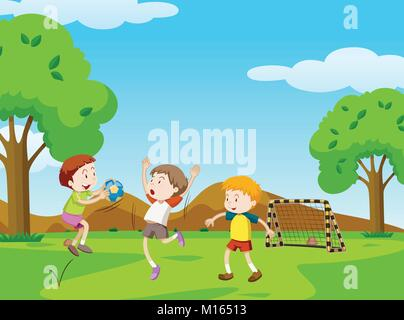 Three boys playing ball in the park illustration - Stock Photo