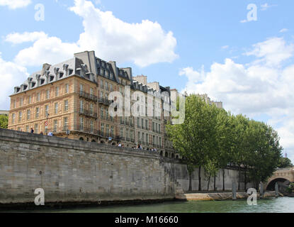 View of Hotel de Harlay, La Maison du Barreau and other buildings on Quai de l'Horloge street on Ile de la Cite, - Stock Photo