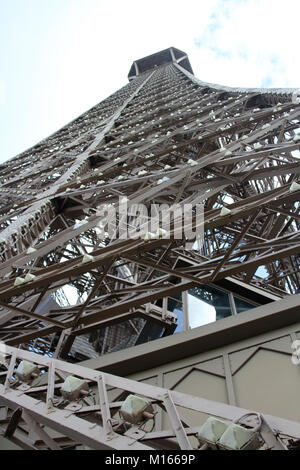 View of the Eiffel Tower from the middle up, Paris, France. - Stock Photo