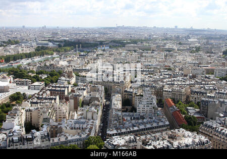 East view of Paris from the top of the Eiffel Tower, France. - Stock Photo