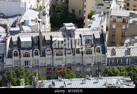 Close-up of some apartments northeast of the Eiffel Tower, Paris, France. - Stock Photo