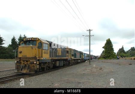 Two diesel engines that pull the TranzAlpine Train over the Southern Alps from Christchurch to Greymouth via Arthur's - Stock Photo