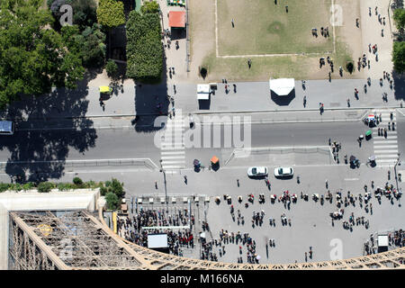 View down of the base of the Eiffel Tower and the street (Avenue Gustave Eiffel) on the Southeast face (Champs de - Stock Photo