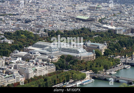 View over the Seine River The Grand Palais des Champs-Elysees and the Petit Palais from the top of the Eiffel Tower, - Stock Photo