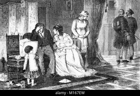Family disaster, father goes bankrupt, vintage engraving - Stock Photo