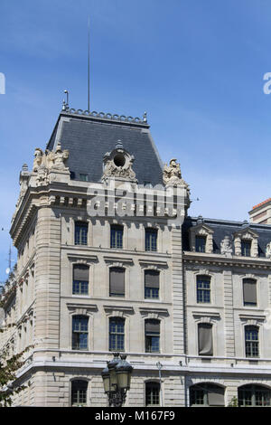 View of apartment building with a turret in Paris, French. - Stock Photo