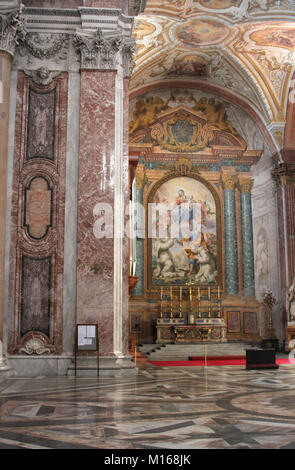 An altar painting: Baptism of Jesus scene, Holy Mary in Heaven with the Saints in the Basilica di Santa Maria degli - Stock Photo