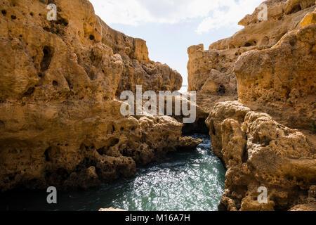 Rock formation Algar Seco, Carvoeiro, Lagoa, Algarve, Portugal - Stock Photo