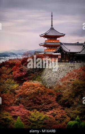 Kiyomizu-dera Sanjunoto pagoda in autumn with colorful red trees, Higashiyama, Kyoto, Japan - Stock Photo