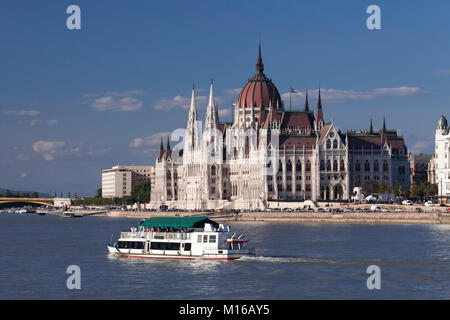 View over the Danube to the Parliament, Pest, Budapest, Hungary - Stock Photo