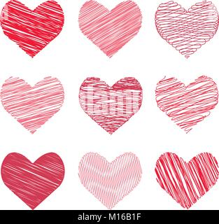 Vector illustration of a collection hand-drawn image in the hearts form for Valentine's Day - Stock Photo