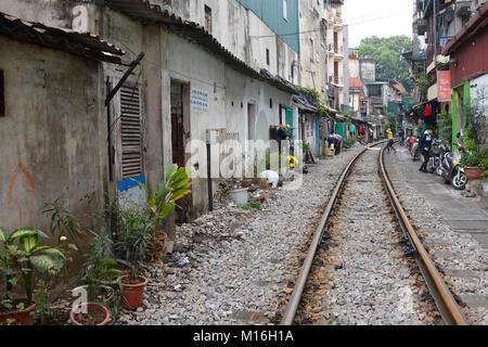 Hanoi, Vietnam - 14th December 2017. Houses on a residential street which is often referred to as Train Street in - Stock Photo