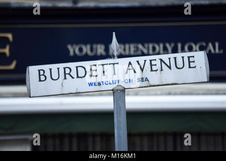 Burdett Avenue in Westcliff on Sea, Essex, UK. Road street sign. Space for copy - Stock Photo