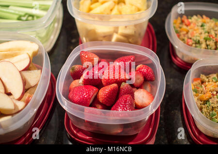 Food in plastic containers for meal prep - Stock Photo