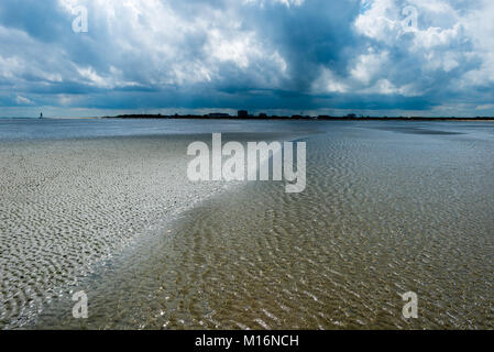 The Wadden Sea is an intertidal zone in the southeastern part of the North Sea. It lies between the coast of northwestern - Stock Photo