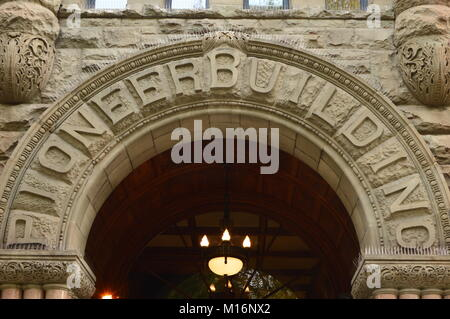 The Pioneer Building is one of the more historical buildings in Seattle Washington - Stock Photo