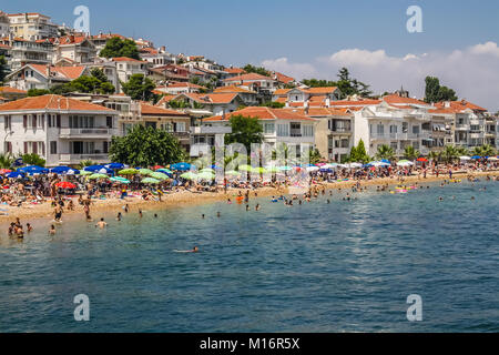 Kinaliada, Princes islands, Istanbul, July 13, 2010: View of the crowded beach in summer. - Stock Photo