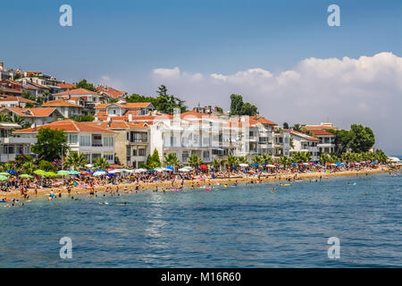 Kinaliada, Princes Islands, Istanbul, View of the crowded beach in summer. - Stock Photo