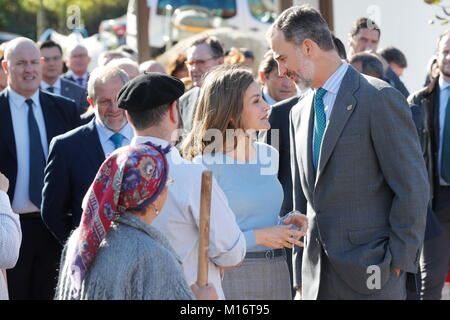 Spanish Kings Felipe VI and Letizia during a visit to Poreñu (Villaviciosa) as winner of the 28th annual Exemplary - Stock Photo