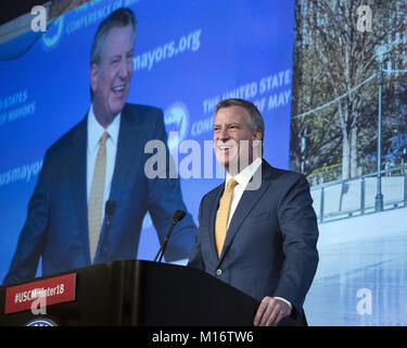 Washington, District of Columbia, USA. 25th Jan, 2018. Mayor Bill de Blasio (Democrat of New York, NY) makes remarks - Stock Photo