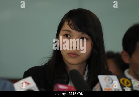 Hong Kong, CHINA. 27th Jan, 2018. Disqualified pro-democratic candidate for 2018 LEGICO by-election, Agnes Chow - Stock Photo