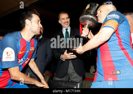 Madrid, Spain. 27th May, 2018. King Felipe at the Cpa del Rey final at the Vicente Calderon stadium in Madrid, Spain - Stock Photo