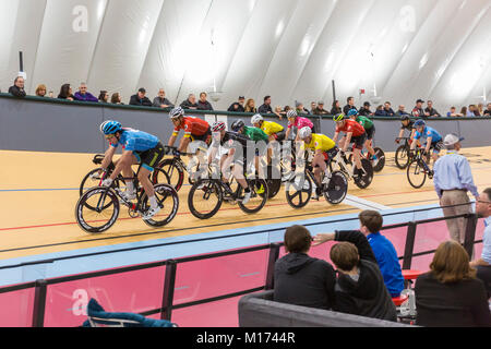 Detroit, Michigan USA - 26 January 2018 - A series of bicycle races celebrated the grand opening of the Lexus Velodrome, - Stock Photo