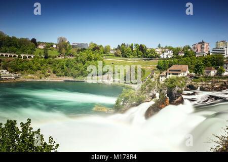 Time exposure of rhine falls in Switzerland - Stock Photo
