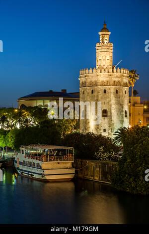La Torre del Oro (Gold Tower), Seville, Spain - Stock Photo