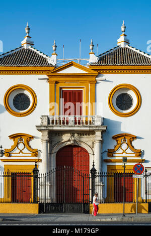Main entrance, Plaza de Toros (bullring) La Maestranza, Seville, Spain - Stock Photo
