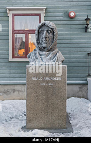 Polar explorer Roald Amundsen statue in front of the museum in Tromso, Norway - Stock Photo