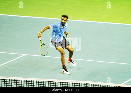 Pune, India. 2nd January 2018. Arjun Kadhe of India, in action in the first round of the Tata Open Maharashtra Tennis - Stock Photo