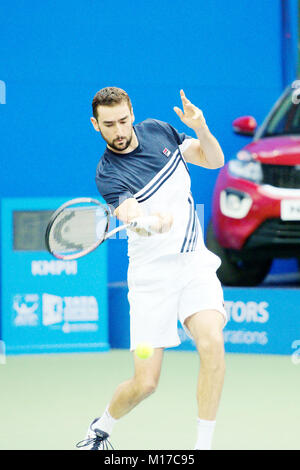 Pune, India. 4th January 2018. Marin Cilic of Croatia, in action in a quarter-final match of the Tata Open Maharashtra - Stock Photo
