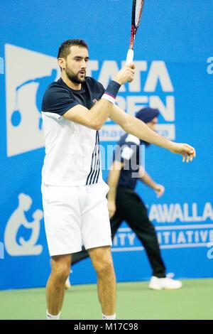 Pune, India. 4th January 2018. Marin Cilic of Croatia, in action in a quarter-final match of the Tata Open Maharashtra - Stock Photo
