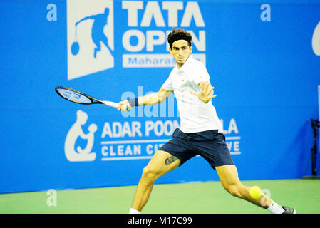 Pune, India. 4th January 2018. Pierre-Hugues Herbert of France, in action in a quarter-final match of Tata Open - Stock Photo