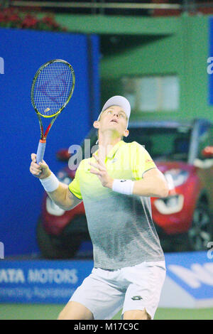 Pune, India. 4th January 2018. Kevin Anderson of South Africa, in action in a quarter-final match of Tata Open Maharashtra - Stock Photo