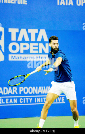 Pune, India. 5th January 2018. Benoit Paire of France, in action in a semi-final match of the Tata Open Maharashtra - Stock Photo