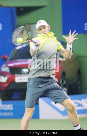 Pune, India. 5th January 2018. Kevin Anderson of South Africa, in action in a semi-final match at the Tata Open - Stock Photo