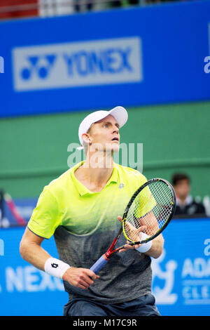 Pune, India. 6th January 2018. Kevin Anderson of South Africa, in action in the singles final  of Tata Open Maharashtra - Stock Photo