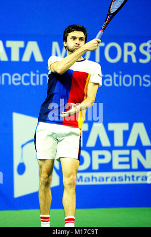 Pune, India. 6th January 2018. Gilles Simon of France, in action in the singles final  of Tata Open Maharashtra - Stock Photo