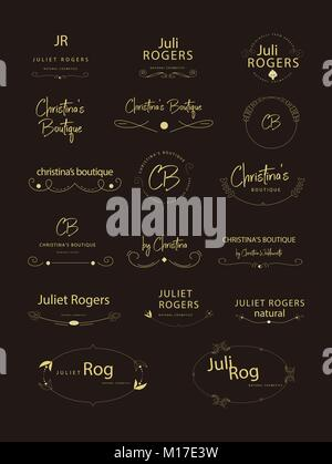 Retro Vintage Insignias or Logotypes set. Vector design elements, business signs, logos, identity, labels, badges - Stock Photo
