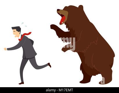 Illustration of a Businessman Running from a Roaring Bear. Bear Market - Stock Photo